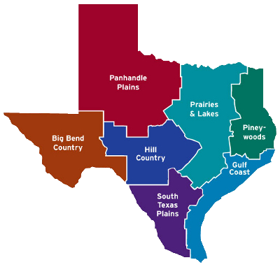 Texas Travel Regions Map